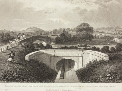 'Railway Gallery under the canal near Holsden Green Middlesex' , 1837.