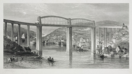 Royal Albert Bridge at Saltash, Cornwall, 1859.