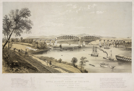 'Royal Albert Bridge at Saltash', Cornwall, 1859.
