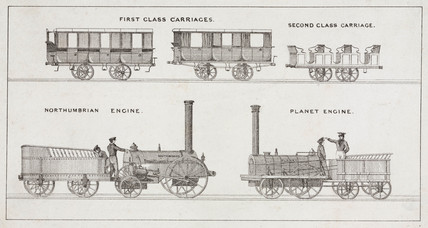 'Northumbrian' and 'Planet' engines and first and second clas carriages, 1835.