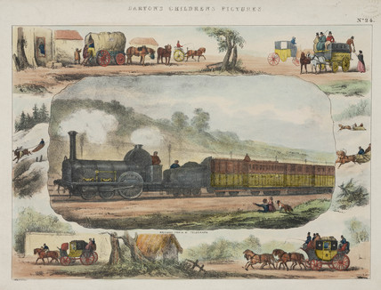 A locomotive surrounded by vignettes of coaches, 1845.