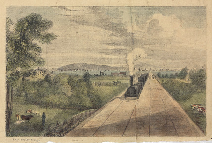 A view of a locomotive travelling through the countryside, 1834.