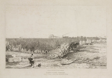 A view of a proposed railway line in Hermitage, Durham, 1835.