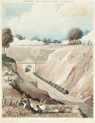 'The entrance to the tunnel at Watford, London & Birmingham Railroad', 1837.