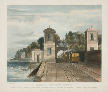 Granite towers and a tunnel entrance on the Dublin & Kingstown Railway, 1834.