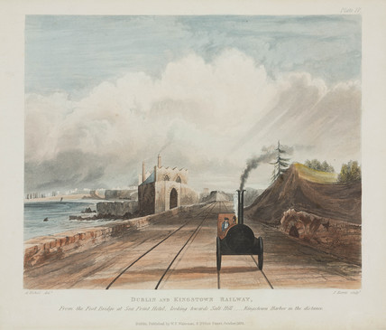 View from a footbridge at the Sea Point Hotel, Dublin & Kingstown Railway, 1834 .