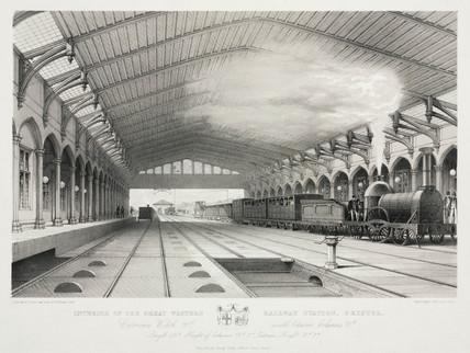 The interior of Bristol Station, 19th century.