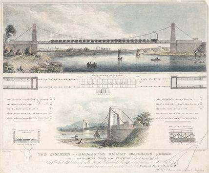 Railway suspension bridge, near Stockton, 19th century.