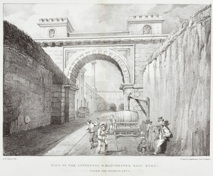 'View on the Liverpool & Manchester Rail Road. Under The Moorish Arch', c 1830.