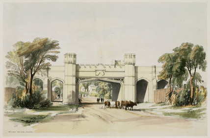 Rugby Railway Bridge as seen from the road, Warwickshire, April 1839.