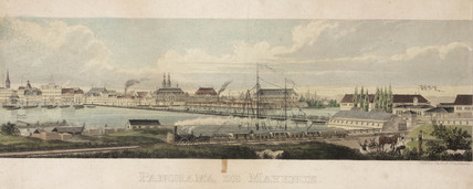 A panorama of Mayence, Germany, 19th century.