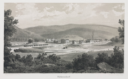A view of the Empres Elisabeth train travelling through Purkersdorf, 1800s.