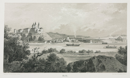 A view of the Empres Elisabeth train travelling through Melk, Austria, 1800s.