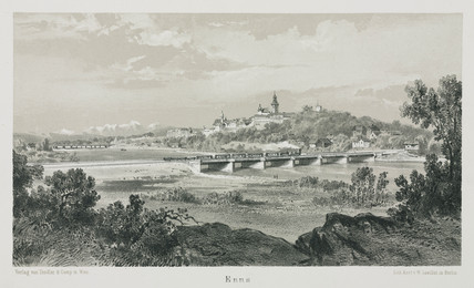 A view of the Empres Elisabeth train travelling through Enns, Austria, 1800s.