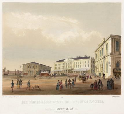 A railway station in Vienna, Austria, 19th century.