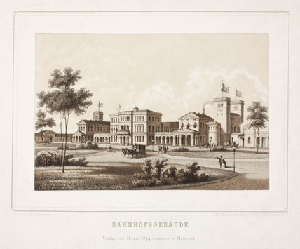 Railway buildings in Hanover, Germany, 19th century.