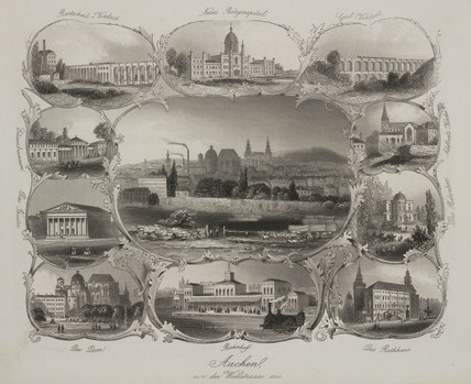 Views of Aachen, Germany, mid 19th century.