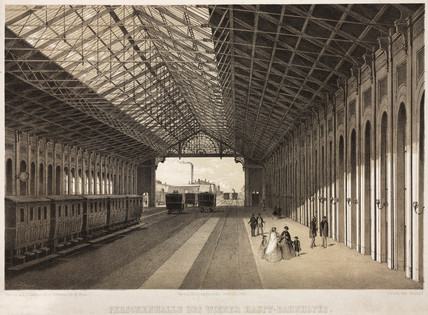 The interior of a railway station, Vienna, 19th century.