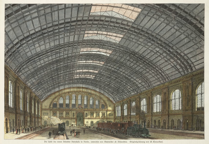 The interior of a railway station in Berlin, Germany, 19th century.