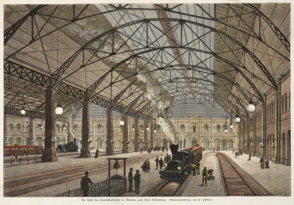 Interior of a railway station, Munich, Germany, 19th century.