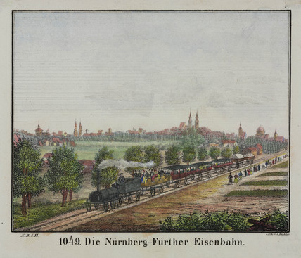 The Nuremberg-Fuerth railway, Germany, 19th century.