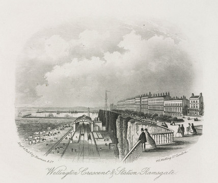 Wellington Crescent & Station, Ramsgate, Kent, 19th century.