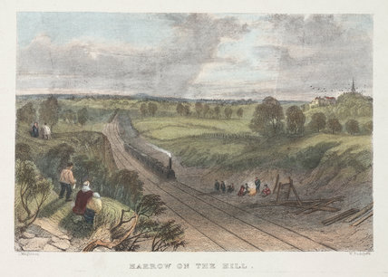 The railway at 'Harrow on the Hill', London, 19th century.