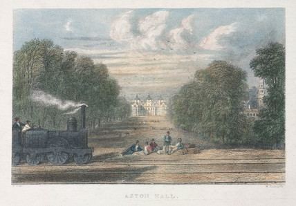 A locomotive in front of Aston Hall, near Birmingham, 19th century.