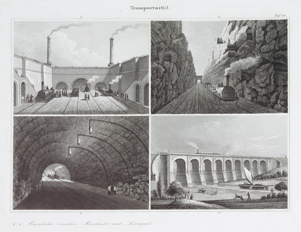 Four views of the Liverpool & Manchester Railway, c 1830s.