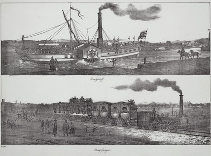A paddle steam ship and a steam train, 19th century.