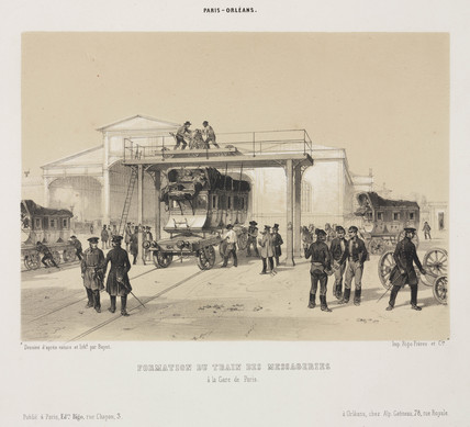 A mail train at a Paris railway station, 19th century.