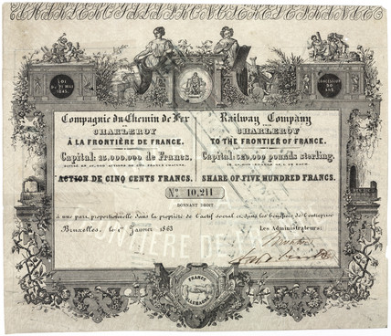 Share certificate for a French railway, 1863.