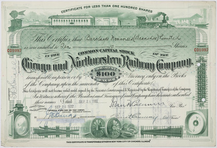 Share certificate for the Chicago and Northwestern Railway Co, 1929.