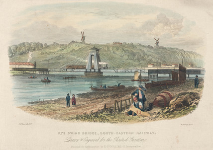 Rye Swing Bridge, South Eastern Railway, East Susex, c 1855.