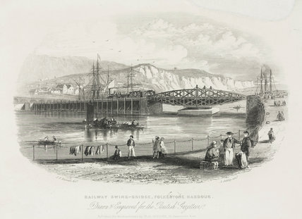 'Railway Swing-bridge, Folkestone Harbour', c 1851.