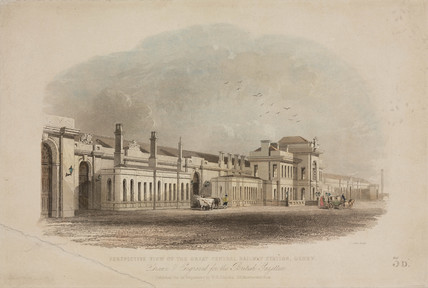 'Perspective view of the Great Central Railway Station, Derby', c 1840.