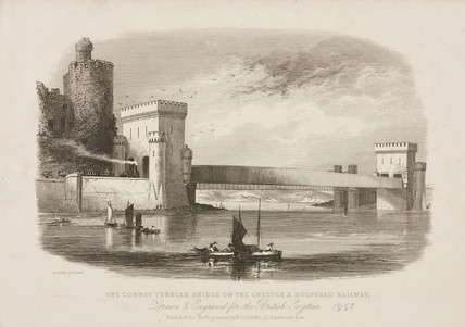 'The Conway Tubular Bridge on the Chester and Holyhead Railway', 1851.