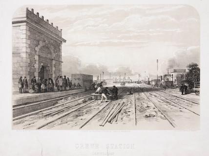 'Crewe Station', c 1840s.