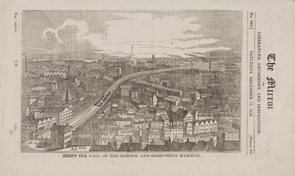 'Bird's eye view of the London and Greenwich Railway', 1836.