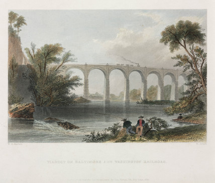 'Viaduct on Baltimore and Washington Railroad', 1838.