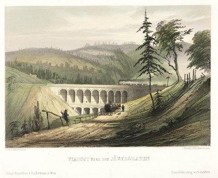 Viaduct over the Jaegerwaben, Austria, mid 19th century.