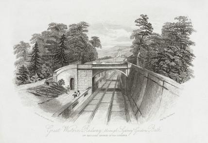 'Great Western Railway through Sydney Gardens, Bath', 19th century.