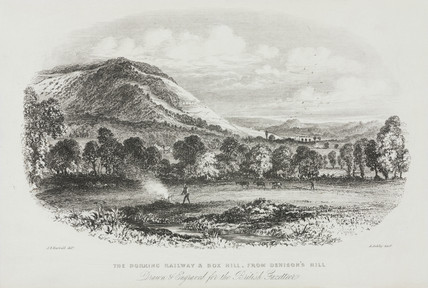'The Dorking Railway and Box Hill, from Denison's Hill', 19th century.