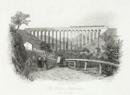 'The Viaduct, Folkestone from Grace Hill', Kent, 1837.