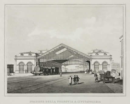 The railway station at Civitavecchia, Italy, c 1859.