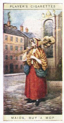 'Maids, buy a mop', trade card, 1916.