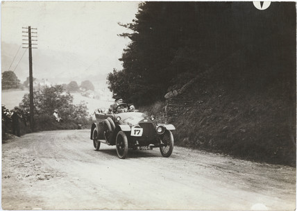 Car competing in a motoring trial, Yorkshire, 1913.