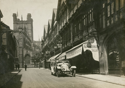 Motor car parked on a street, Chester, Cheshire, c 1912.