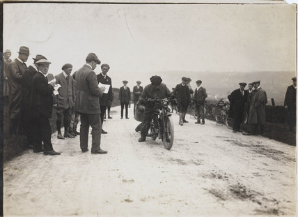 Motorcycle at a trials event, c 1912.
