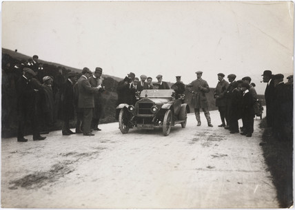 Motor car at a trials event, c 1912.